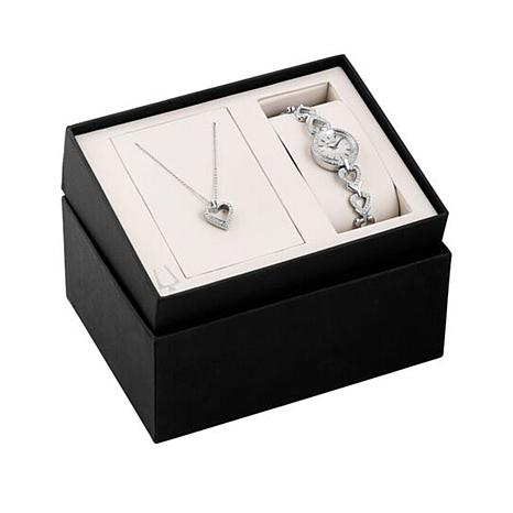Bulova Crystal-Accented  Heart Watch and Necklace Set