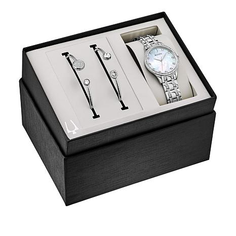 Bulova Crystal-Accented Silvertone Watch and 2-piece Cuff Bracelet Set