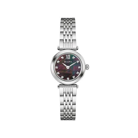 Bulova Diamond-Accent Black Mother-of-Pearl Dial Watch