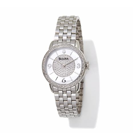 Bulova Diamond Dial and Bezel Round Case Watch