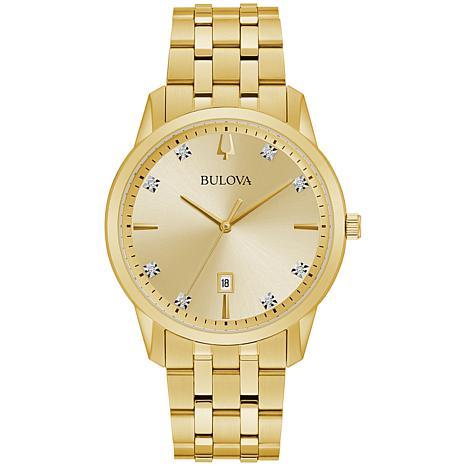 Bulova Goldtone Men's Diamond-Accented Date Feature Watch
