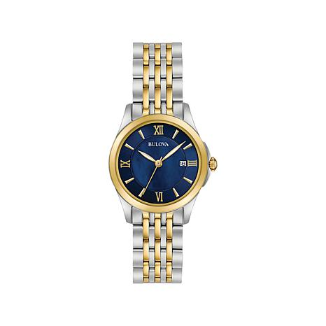 Bulova Ladies' Round Case Blue Dial 2-Tone Watch