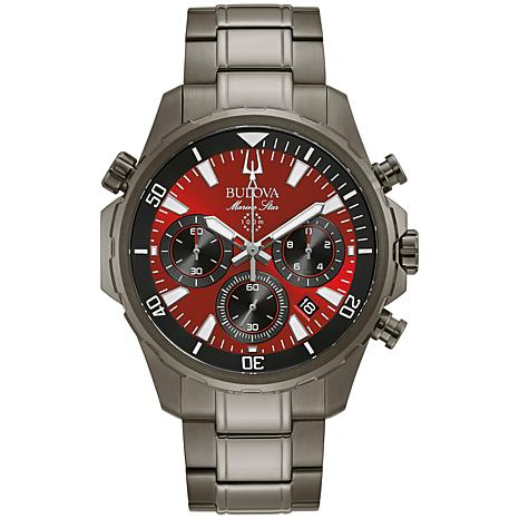 "Bulova ""Marine Star"" Gray Stainless Steel Men's Chronograph Watch"
