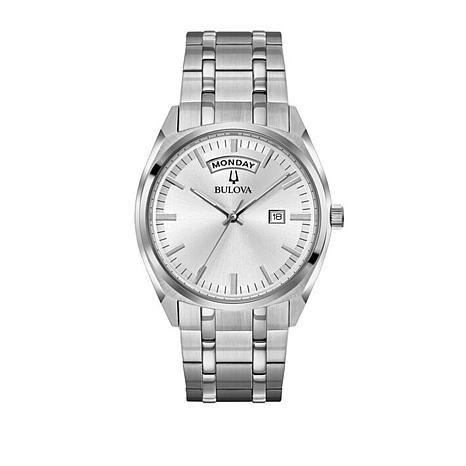 fd43e65e200 Bulova Men s Classic Collection Stainless Steel Day and Date Feature ...