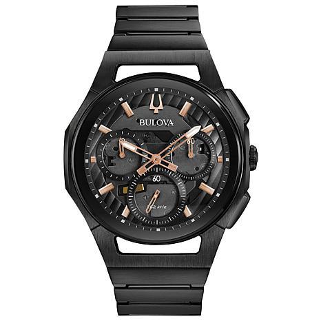 Bulova Men's CURV Chronograph Black Stainless Steel Bracelet Watch