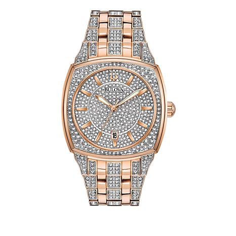 Bulova Men's Pavé Crystal Rosetone Cushion Bracelet Watch