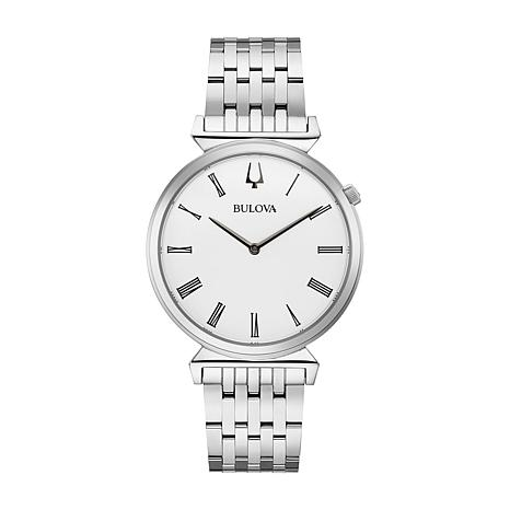 Bulova Men's Slim Stainless Steel Watch with White Dial