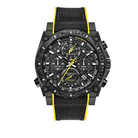 "Bulova ""Precisionist"" Men's Black  Chronograph Nylon Strap Watch"