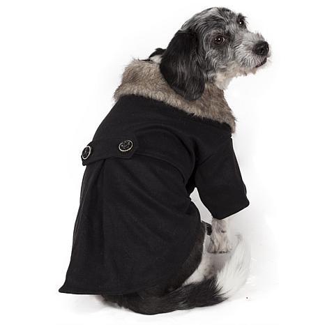Buttoned Coast-Guard Fashion Faux-Fur Collared Wool Pet Coat