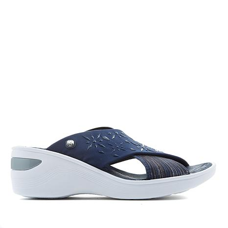 Bzees Diamond X-Band Wedge Slide Sandal