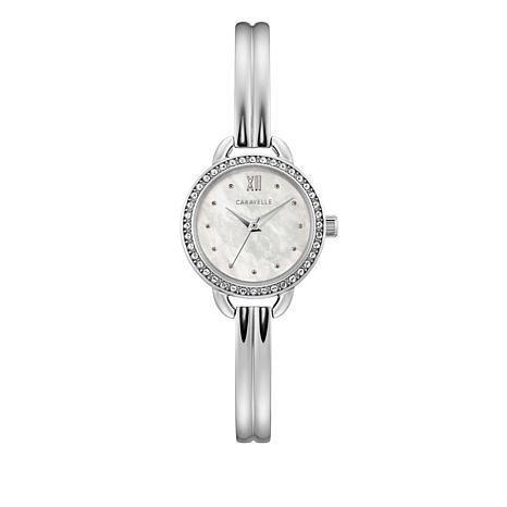 Caravelle Crystal Bezel Silvertone Ribbed Semi Bangle Watch