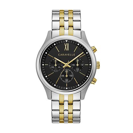 CARAVELLE Designed by Bulova Men's Chronograph Watch, Two-Tone Brac...