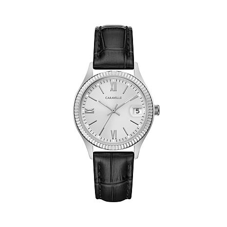 Caravelle Silvertone Stainless Coin-Edge Watch