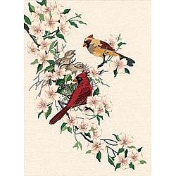 Cardinals in Dogwood Crewel Kit