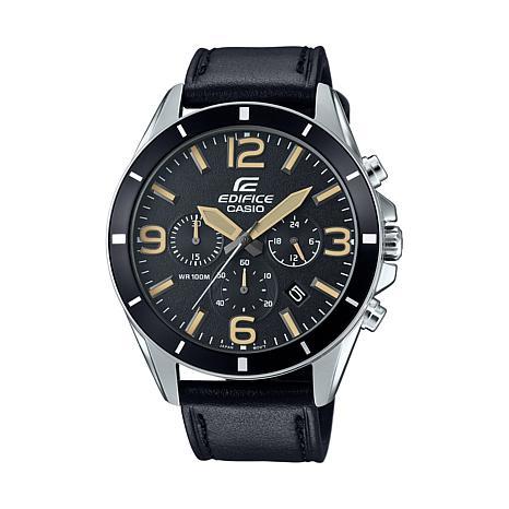 Casio Edifice  Men's Black Leather Strap Chronograph Watch