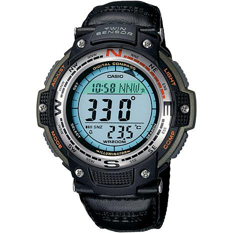 Casio Men's Sports Gear Digital Compass Watch with Green Nylon Strap