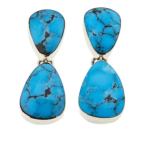Chaco Canyon 2-in-1 Blue Kingman Turquoise Sterling Silver Earrings