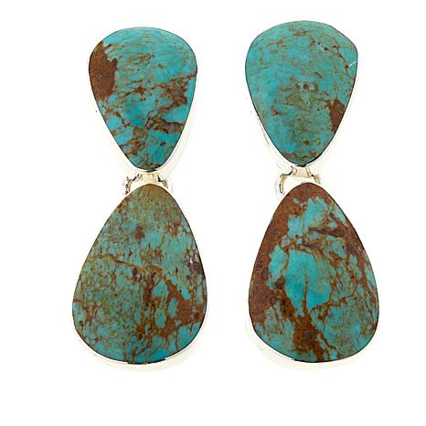 Chaco Canyon 2-in-1 Green Turquoise Sterling Silver Earrings