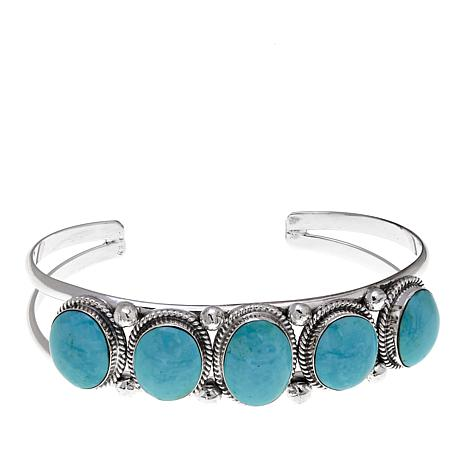Chaco Canyon 5-Stone Kingman Turquoise Sterling Silver Cuff Bracelet
