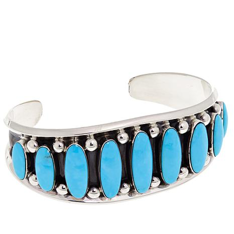 Chaco Canyon 9-Stone Kingman Turquoise Sterling Silver Cuff Bracelet