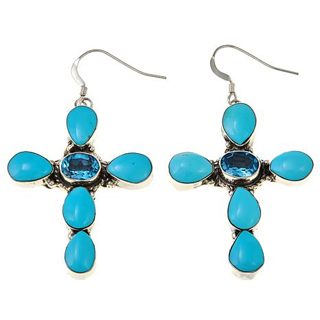 Chaco Canyon Blue Topaz and Kingman Turquoise Cross Earrings