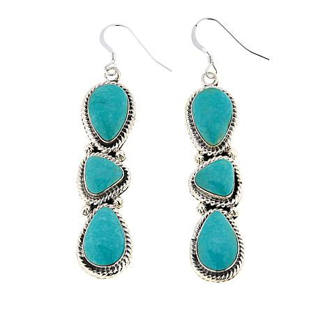 Chaco Canyon Ceremonial Green Turquoise 3-Stone Drop Earrings