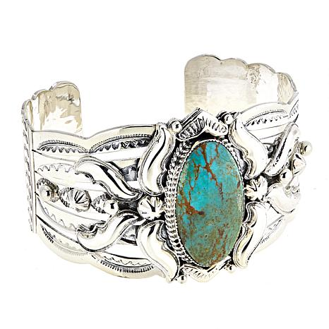Chaco Canyon Ceremonial Green Turquoise Sterling Silver Cuff Bracelet