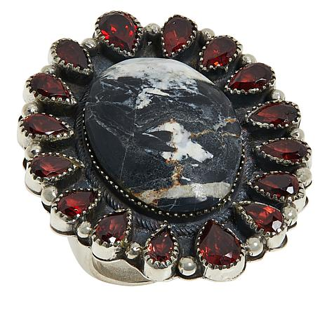 "Chaco Canyon Couture ""White Buffalo"" Howlite and Garnet Border Ring"