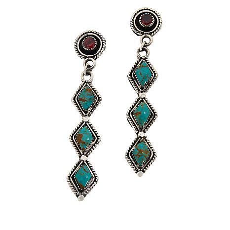 Chaco Canyon Couture Zuni Turquoise and Garnet Drop Earrings