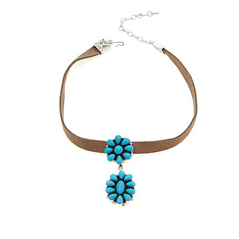 Chaco Canyon Floral Turquoise Wide Leather  Choker