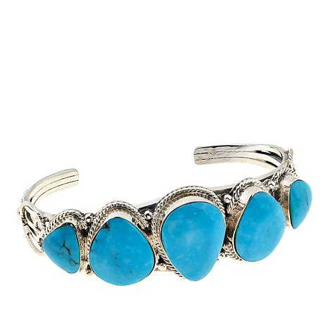 Chaco Canyon Graduated Kingman Turquoise 5-Stone Sterling Silver Cuff