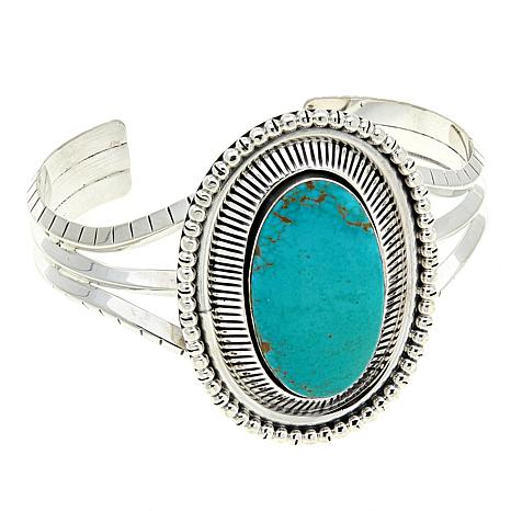 """Chaco Canyon Green Ceremonial Turquoise 7"""" Split-Shank Cuff Bracelet"""