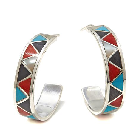 Chaco Canyon Inlaid Multigem Sterling Silver Hoops