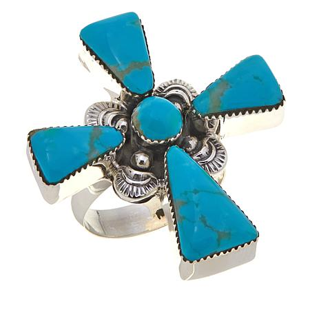Chaco Canyon Kingman Turquoise Cross Ring
