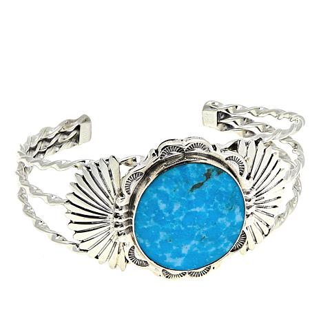 """Chaco Canyon Kingman Turquoise Fan-Design 6-3/4"""" Spiral-Wire Cuff"""