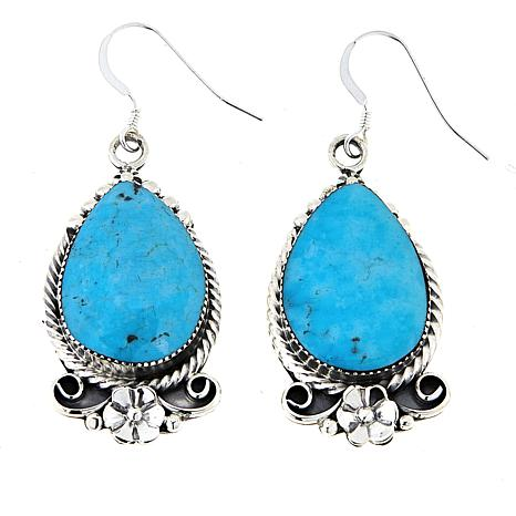 Chaco Canyon Kingman Turquoise Floral Drop Sterling Silver Earrings