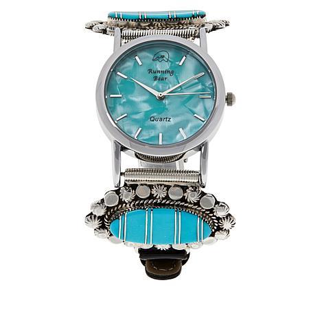 Chaco Canyon Kingman Turquoise Inlay Zuni Leather Strap Watch