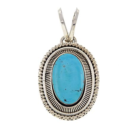 Chaco Canyon Oval Kingman Turquoise Sterling Silver Pendant