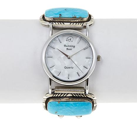Chaco Canyon Rectangular Kingman Turquoise Sterling Silver Watch