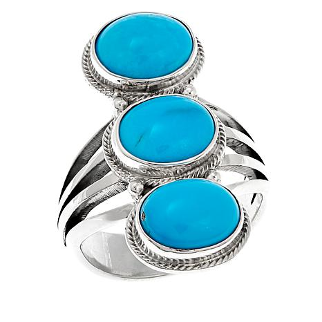 Chaco Canyon Sleeping Beauty Turquoise 3-Stone Oval Ring