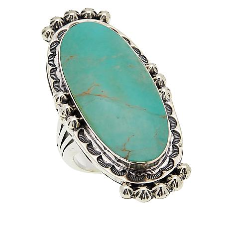 Chaco Canyon Sterling Silver Ceremonial Green Turquoise Ring