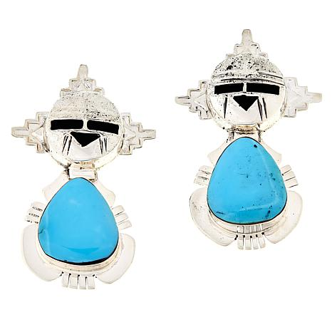 Chaco Canyon Sterling Silver Kingman Turquoise Hopi Kachina Earrings