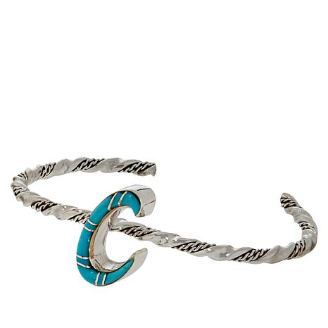 Chaco Canyon Sterling Silver Kingman Turquoise Initial Cuff