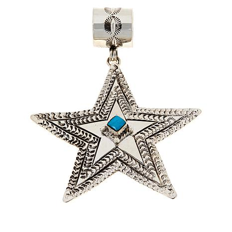 Chaco Canyon Sterling Silver Kingman Turquoise Star Pendant