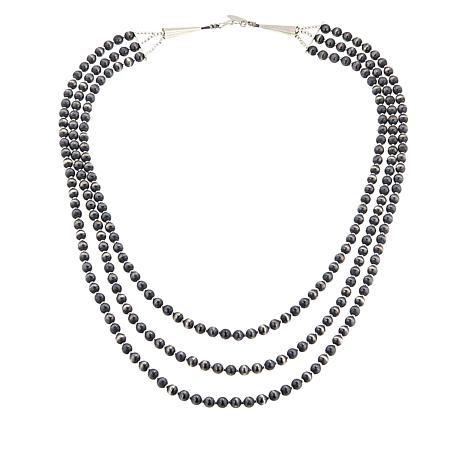 Chaco Canyon Sterling Silver Navajo Beaded 3-Strand Necklace
