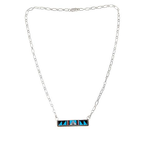Chaco Canyon Sterling Silver Zuni Gemstone Inlay Bar Necklace