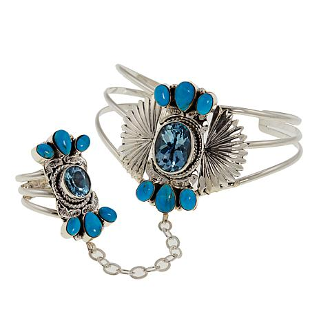 Chaco Canyon Turquoise and Swiss Blue Topaz Princess Cuff and Ring
