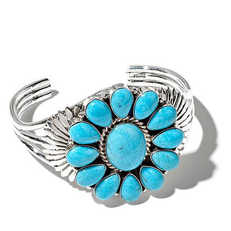 "Chaco Canyon Turquoise ""Flower"" Cuff Bracelet"