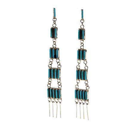 Chaco Canyon Zuni Kingman Turquoise Needle Point Fringe Earrings