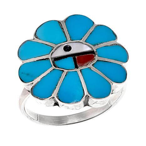 "Chaco Canyon Zuni Sleeping Beauty Turquoise & Gemstone ""Sunface"" Ring"